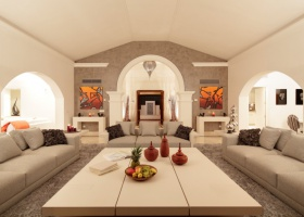 Bright living room at designer villa for sale in Marbella