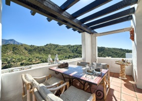 mountain views of the terrace at penthouse in Marbella Spain